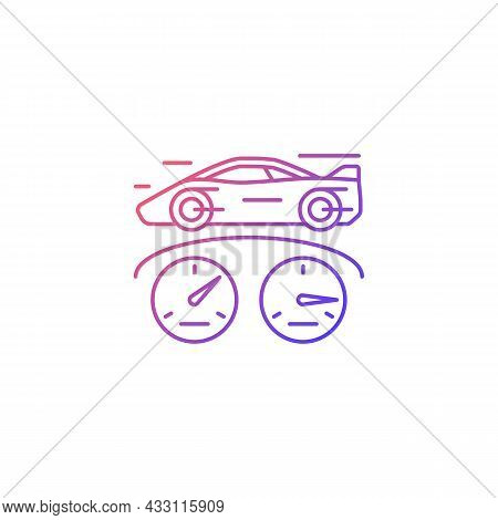 Top Speed Gradient Linear Vector Icon. Sports Car Racing. Detecting Vehicle Speed. Professional Auto