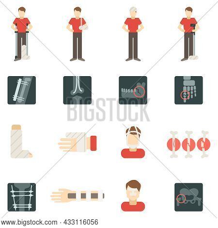 Fracture Bone Flat Icons Set With People Silhouettes Skeleton X-ray Isolated Vector Illustration