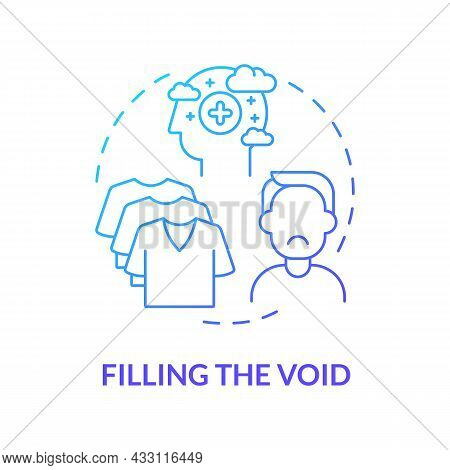 Filling Void Blue Gradient Concept Icon. Shopping When Feel Sad And Stress. Sense Of Emptiness. Wort
