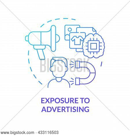 Exposure To Advertising Blue Gradient Concept Icon. People Buy More When See Ads. Excessive Buying.