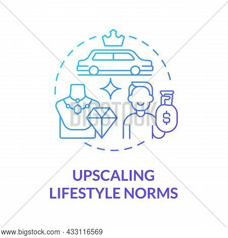 Upscaling Lifestyle Norms Blue Gradient Concept Icon. Envy Makes Us Overspend Money. Competitive Con