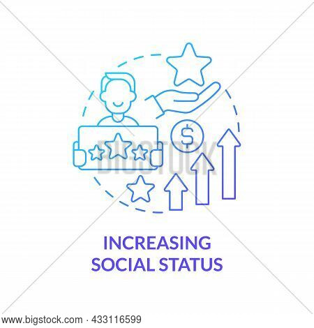 Increasing Social Status Blue Gradient Concept Icon. Display Wealth And Possessions. Excessive Buyin