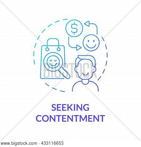 Seeking Contentment Blue Gradient Concept Icon. Excessive Buying Does Not Lead To Happiness. Overspe