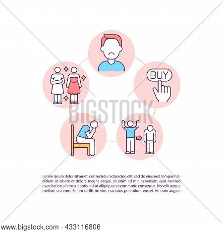 Psychological Problems Concept Line Icons With Text. Ppt Page Vector Template With Copy Space. Broch