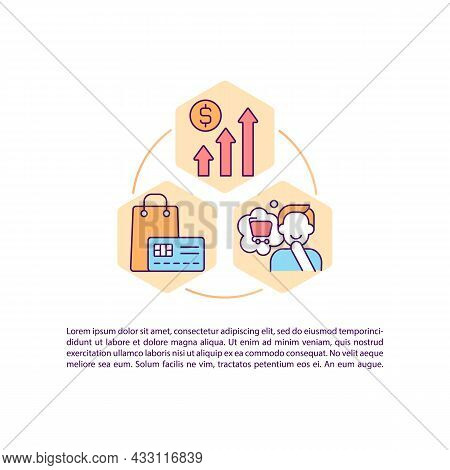 Shopping Concept Line Icons With Text. Ppt Page Vector Template With Copy Space. Brochure, Magazine,