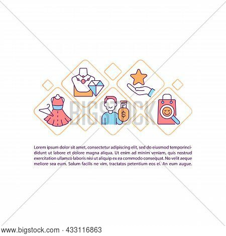 Shopping Addiction Concept Line Icons With Text. Ppt Page Vector Template With Copy Space. Brochure,