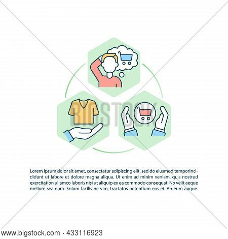Challenging Consumerism Concept Line Icons With Text. Ppt Page Vector Template With Copy Space. Broc