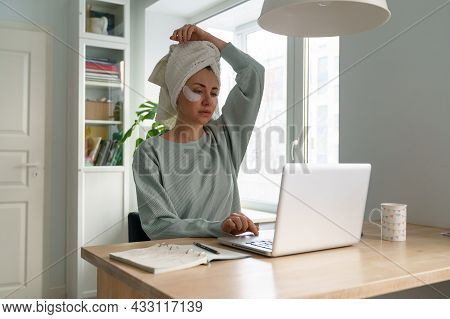 Woman Check Email On Laptop Computer Sitting In Home Office Work Remotely In Morning With Coffee On