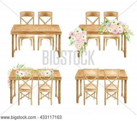 Wood Wedding Tables Set. Watercolor Head Table With Flower Arrangements Isolated On White. Hand Draw