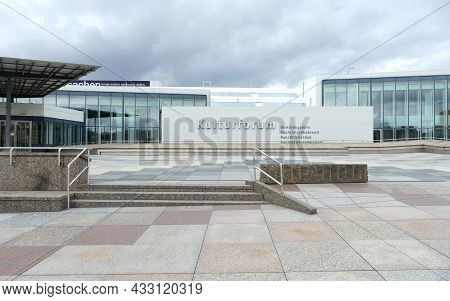 Berlin, Germany, September 13, 2021, Staircase With Small Stairs To The Kulturforum In Berlin With P