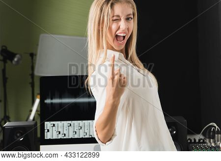 Caucasian Young Woman Golden Hair Attractive Smile See Teeth Confident Showing Sign Joy Looking At C