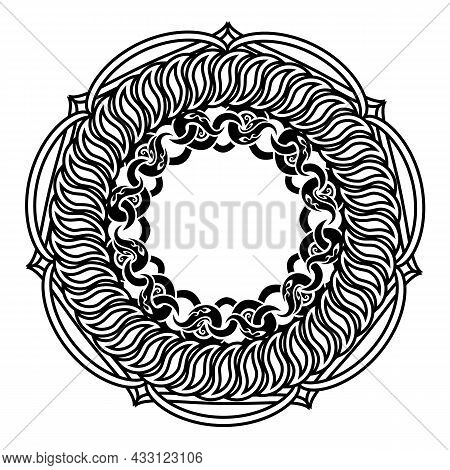 Black Decorative Ornamental Knotted Wreath Or Frame Or Life Bouy