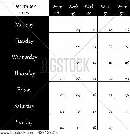 December 2022 Planner With Number For Each Week Black On Transparent Backgroun