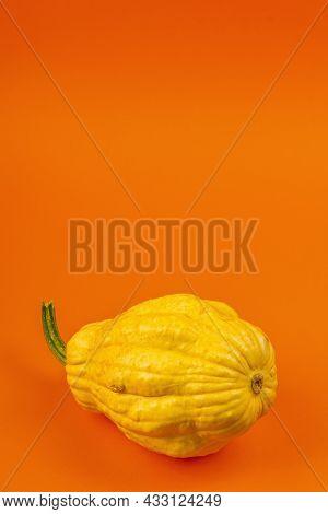 Ripe Yellow Pumpkin Isolated On Bright Orange Background