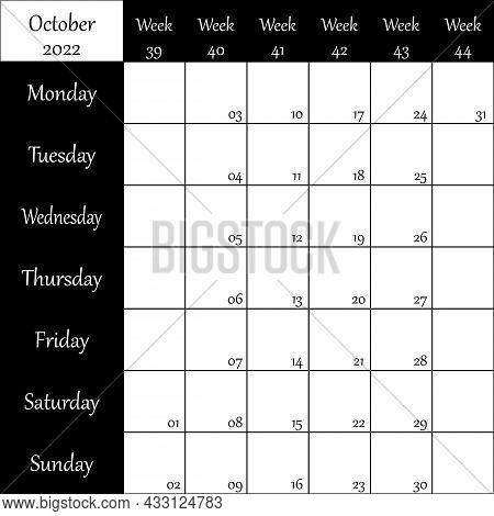 October 2022 Planner With Number For Each Week Black On Transparent Background
