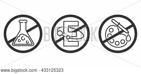 No Preservatives, No Additives, E Number And Dye Free Flat Pictograms Set - Crossed Flask And E Lett