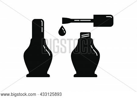 Open And Closed Cosmetic Container Nail Polish With Brush. Female Makeup Product. Plastic Or Glass B