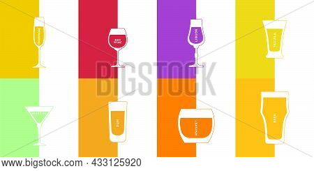 Champagne, Whiskey, Beer, Red Wine, Liquor, Rum, Tequila And Martini Glass In Minimalist Linear Styl