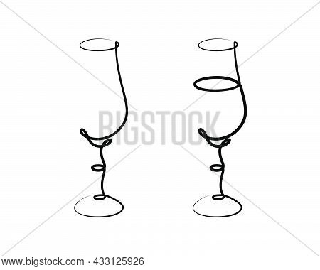 Liquor Wineglass On White Background. Graphic Arts Sketch Design. Black One Line Drawing Style. Hand