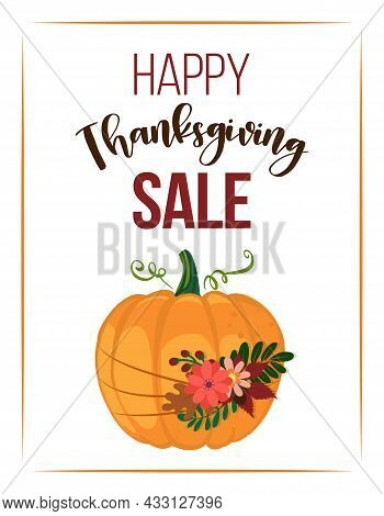 Happy Thanksgiving Sale - Banner With Beautiful Flowered Pumpkin. Web Site Sale Promotion Or Adverti