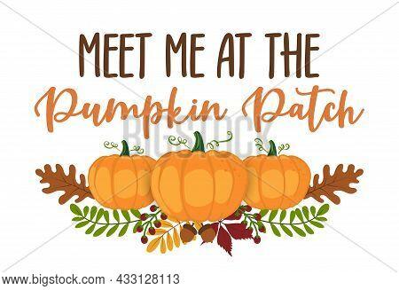 Meet Me At The Pumpkin Patch - Happy Harvest Fall Festival Design For Markets, Restaurants, Flyers,