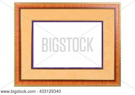 Orange Mockup Canvas Frame Isolated On White Background