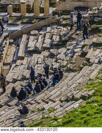 Tourists At Acropolis Site, Athens, Greece