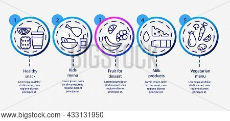 School Meal Concept Outline Icons Set. Kids Menu. Milk Products. Lunchbox. Healthy Eating Program. C