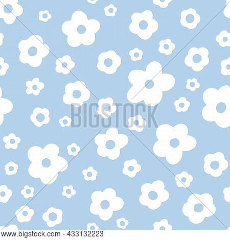 Ditsy Floral Seamless Pattern. Small White Meadow Flowers On Sky Blue Background. Vintage Liberty Ti