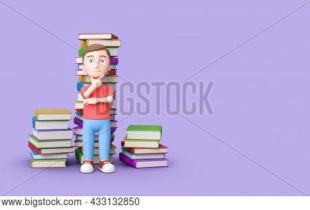 Puzzled Young Kid With Stacks Of Colorful Books Behind. 3d Cartoon Character On Purple Background Wi