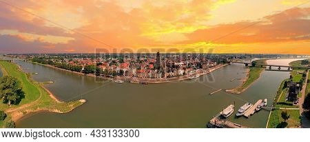Aerial panorama from the city Deventer in the Netherlands at sunset