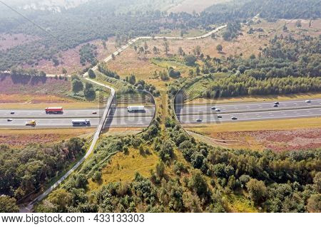 Aerial from ecoduct De Borkeld on the highway A1 in Rijssen the Netherlands