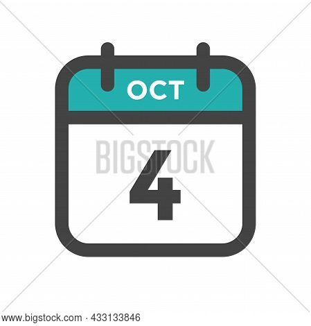 October 4 Calendar Day Or Calender Date For Deadline And Appointment