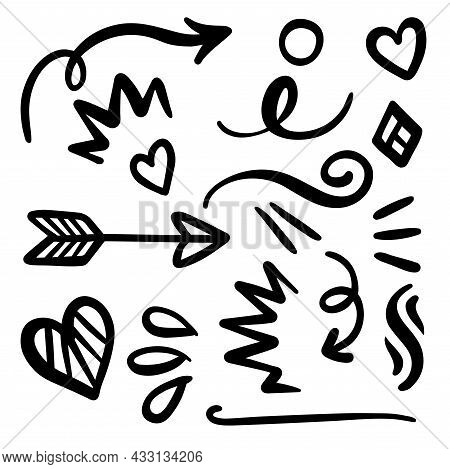 Arrows, Swirls, Swoosh, And Heart Elements For Greeting Cards And Design
