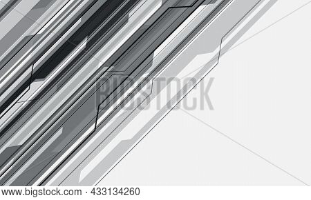 Abstract Grey Cyber Circuit Geometric On White With Blank Space Design Modern Futuristic Technology