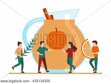 People Make Juice, Diet Smoothie, Warming Drink From Fruit Orange, Apple, Herbal And . Fruit Autumn