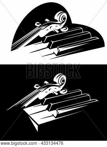 Violin Neck And Piano Keys Ensemble In Heart Shape Outline - Classical Music Black And White Vector
