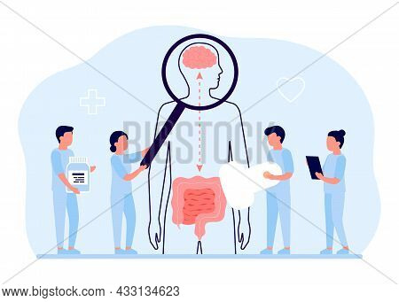 Connection Of Health Human Brain And Intestine Gut. Doctor Checkup Relation Organs, Gut Second Brain