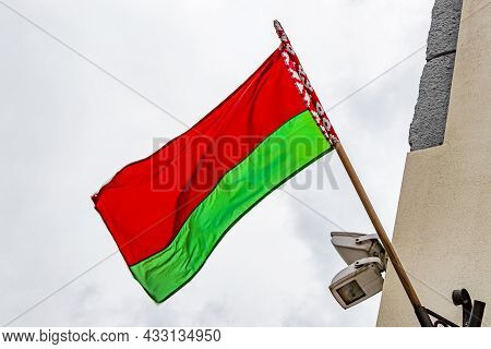 Belarus Flag On A Building Belarusian Flag Red White Green.