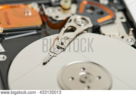 Reading Data From Hard Drive Macro Close Up View