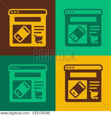 Pop Art Online Shopping On Screen Icon Isolated On Color Background. Concept E-commerce, E-business,