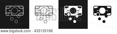 Set Stacks Paper Money Cash Icon Isolated On Black And White Background. Money Banknotes Stacks. Bil