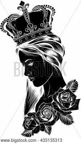 Profile Of A Princess Or Queen. Vector Silhouette Icon Illustration. Cute Pritty Girl Portrait.