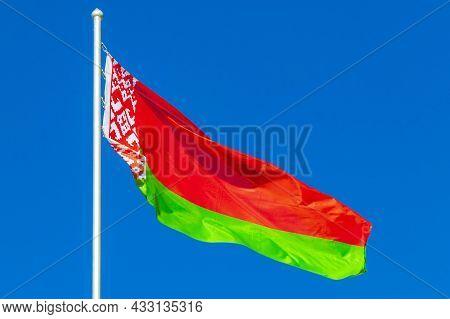 Flag Of Belarus Blue Sky Belarusian Flag Red White Green.