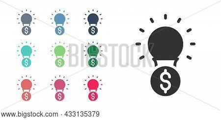 Black Light Bulb With Dollar Symbol Icon Isolated On White Background. Money Making Ideas. Fintech I