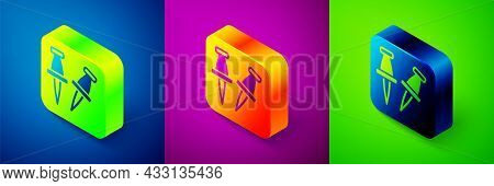 Isometric Push Pin Icon Isolated On Blue, Purple And Green Background. Thumbtacks Sign. Square Butto