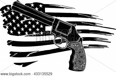 Revolver Icon In Black Style With American Flag