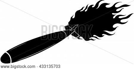 Vector Illustration Of Silhouette Missile With Flames Icon