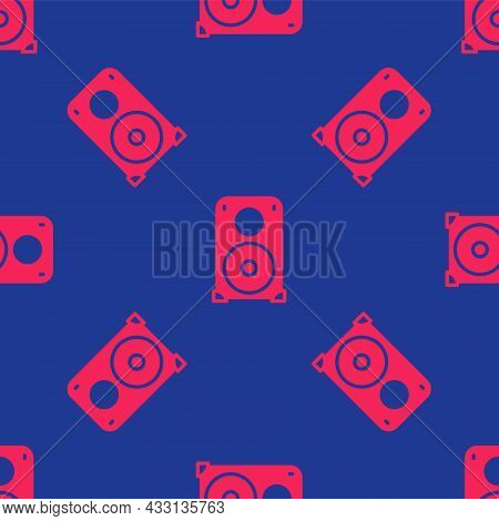 Red Stereo Speaker Icon Isolated Seamless Pattern On Blue Background. Sound System Speakers. Music I