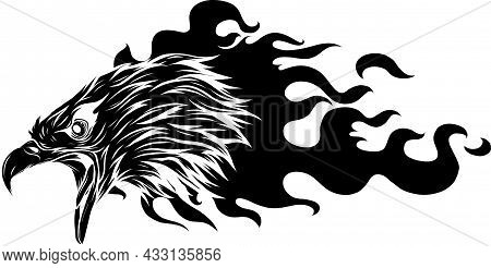 Vector Illustration Of Silhouette Eagle Supercharge Abstract